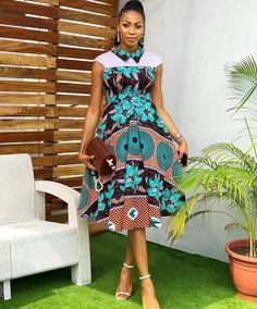 Cute Ankara Dress With Short Cap Sleeve African Wear Dresses, African Fashion Ankara, African Inspired Fashion, Latest African Fashion Dresses, African Print Fashion, African Attire, Latest Dress Styles, African Skirt, Africa Fashion