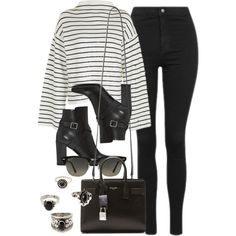 Style #11590 by vany-alvarado on Polyvore featuring Topshop, Yves Saint Laurent, Forever 21 and Ray-Ban