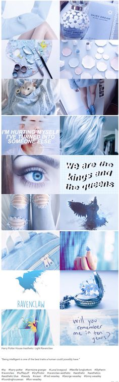 "Harry Potter House Aesthetic: Light Ravenclaw | ""Being intelligent is one of the best traits a human could possibly have."""