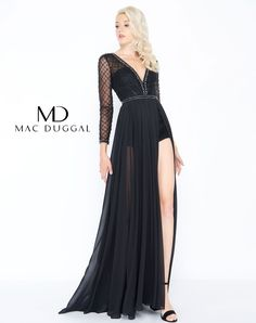 Mac Duggal prom dress. Sheer sleeved bodice giving way to a romper with an illusion skirt. From Dress & Party, a prom dress store in Columbus, OH.