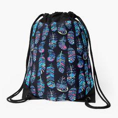"""""""Turquoise Boho Feathers Pattern"""" Drawstring Bag by HavenDesign   Redbubble Dark Blue Background, Feather Pattern, Drawstring Bags, Color Patterns, Feathers, Turquoise, Tote Bag, Boho, Stylish"""