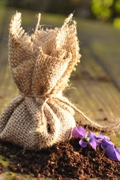 DIY Flower Seed Pockets. Fill them with dirt and seeds, then plant the whole burlap bundle. A sweet spring gift! Easy tutorial.
