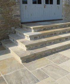 Flagstone Patio Steps Landscapes 45 Ideas For 2019 Concrete Patios, Flagstone Patio, Backyard Patio, Backyard Landscaping, Patio Steps, Garden Steps, Garden Paving, Terrace Design, Garden Design