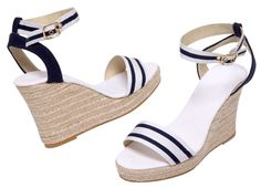 De rigueur on the terrace at the club after The Regatta – PALMA – navy and white espadrille wedge sandals.Leather backed gross-grain upper and ankle strap, cotton canvas foot bed on jute-wrapped 3 inch wedge and 1 inch platform.  [...]