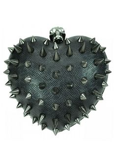 Cupcake Cult Black Anarchy Heart Spike Skull Studded Purse Clutch Bag. Skull Closure. Detachable chain strap. Measurements: 6 x 5 inches.