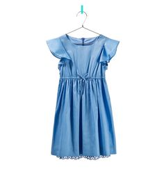 Blue dress with frilled sleeves - Zara Kids