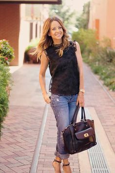Black Lace Sleeveless Top + boyfriend jeans + heels