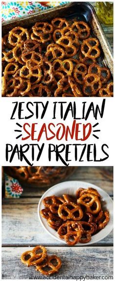 Zesty Italian Seasoned Pretzels are addictive! With a zippy garlic flavor and a bite of spiciness youll keep going back for more. A perfect party snack. recipes recipes chicken recipes chicken recipes Source by Spicy Pretzels, Seasoned Pretzels, Ranch Pretzels, Salty Snacks, Yummy Snacks, Yummy Food, Chex Mix, Snack Mix Recipes, Appetizer Recipes