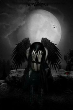 OK, not Victoria Frances, but I really love this one. Dark Gothic Art, Dark Fantasy Art, Dark Art, Dark Angels, Angels And Demons, Fallen Angels, Sad Angel, Tears Of An Angel, Crying Angel