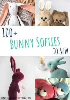 Bunny Softie Sewing Patterns - Felt With Love Designs Animal Sewing Patterns, Felt Patterns, Stuffed Animal Patterns, Sewing Projects For Kids, Sewing For Kids, Crafts For Kids, Sewing Ideas, Cute Easter Bunny, Felt Bunny