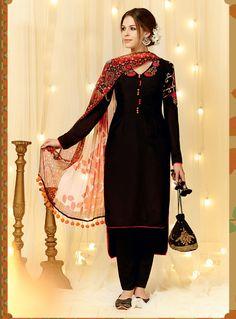 Black Cotton Satin Pakistani Style Suit 66123