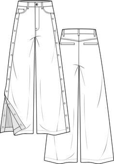 Pants fashion flat technical drawing template Fashion Design Sketches, Fashion Illustration Sketches, Croquis, Fashion Sketchbook, Drawing Clothes, Technical Drawing, Pattern Cutting, Sketch Inspiration, Apparel Design