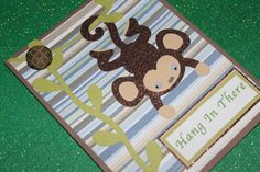 Hang in There handmade monkey greeting card by AnLieDesigns, $2.00