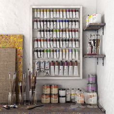 Art workshop - Sites new Art Studio Storage, Art Studio Room, Art Supplies Storage, Art Studio Design, Art Studio Organization, Art Studio At Home, Art Storage, Painting Studio, Art Studio Decor