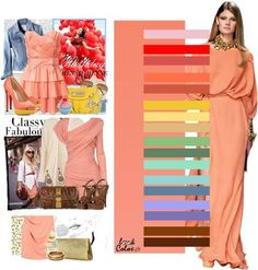 The striking combination of colors Colour Combinations Fashion, Color Combinations For Clothes, Fashion Colours, Colorful Fashion, Color Combos, Orange Pink Color, Peach Colors, Seasonal Color Analysis, Modelos Fashion