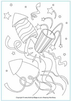 Set off some fireworks and rockets to bring in the New Year or celebrate Bonfire Night or perhaps Independence Day! New Year Coloring Pages, Coloring Pages For Kids, Coloring Books, Bonfire Night Crafts, Fireworks Clipart, Firework Colors, Guy Fawkes Night, New Years Activities, Educational Activities
