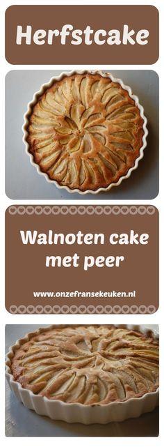 Een heerlijke herfstcake. Deze walnoten cake is heerlijk smeuïg door  de toevoeging van stukjes peer en ziet er prachtig uit.