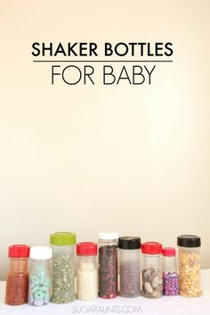 Sensory bottles made with recycled spice containers. Babies and Toddlers love these!