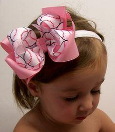 Sports Hair Bows! So cute if Bella plays softball in the future!
