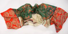 Hand painted silk scarf/ Klimt Inspired scarf/ Red green