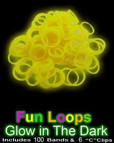 Glow in the Dark Rubber Band Looms Refill (Yellow)