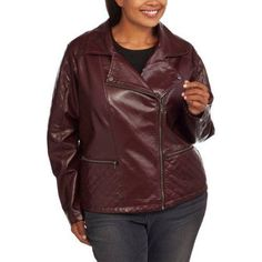 Maxwell Studio Women's Plus-Size Faux Leather Moto Jacket With Removable Fur Collar, Size: 3XL, Purple