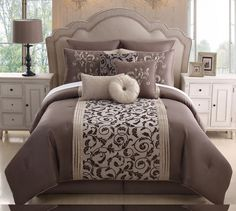 14 Piece Queen Amber Taupe Bed in a Bag w/500TC Cotton Sheet Set