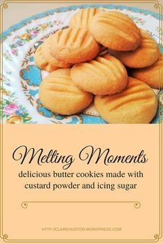 My recipe for melting moments. These are butter biscuits / cookies made from custard powder and icing sugar. After a satisfying initial crunch they melt away in all their deliciousness. Sugar Biscuits Recipe, Custard Biscuits, Custard Cookies, Biscuit Cookies, Biscuit Recipe, Recipes For Biscuits, Bird's Custard, Baking Biscuits, Coffee Biscuits