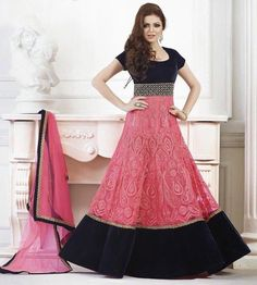 Drashti Dhami Net & Velvet Machine Work Pink Semi Stitched Long Anarkali Suit - I3 at Rs 4524