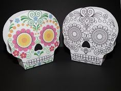 sugar skull box to color, print, and assemble--also several Halloween coloring pages on this site