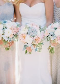 Spring wedding bouquets, bridesmaid bouquet inspiration. Rustic Cream & Blush Arizona Wedding