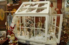 Stunning repurpose of old windows. Looks like a Greenhouse for a Christmas Village! All Things Christmas, Winter Christmas, Christmas Home, Vintage Christmas, Christmas Vignette, Christmas Globes, Christmas Carol, Recycled Windows, Old Windows