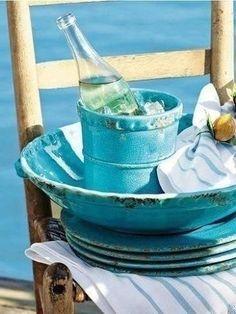White Cottage, Aqua, Turquoise, Barware, Tableware, Post Card, Breeze, Seaside, Summer