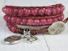 Unique Bohemian & Artisan Jewelry by NimbleKnotsStudio on Etsy Beaded Wrap Bracelets, Bracelets For Men, Pink Gemstones, Bracelet Designs, Leather Jewelry, Artisan Jewelry, Women Jewelry, Triple Wrap, Jewelry Design