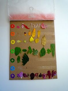A rainbow-collecting walk using double-sided tape to adhere the items.  We used glue sticks last time.  I'll bet my chickadees would love the double-sided tape.  Must buy some for this and other projects.