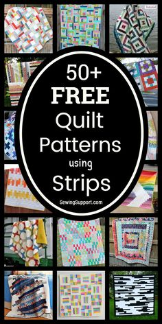 Over 50 free patterns, tutorials, and diy sewing projects for strip quilts - many great for use with inch jelly roll fabric bundles. Strip Quilt Patterns, Jelly Roll Quilt Patterns, Strip Quilts, Patchwork Quilt Patterns, Beginner Quilt Patterns, Batik Quilts, Jellyroll Quilts, Quilting For Beginners, Rag Quilt