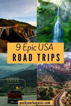 9 Epic USA Road Trips | Wisconsin to California Road Trip | Vermont Fall Road Trip | Utah National Park Road Trip | Texas Barbecue Road Trip | Olympic National Park Road Trip |  Los Angeles to San Francisco on Highway 1 | Colorado to Los Angeles road trip | Kentucky Bourbon Trail road trip | Hawaiian Road Trip:  The Big Island