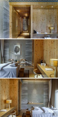 This massage room in a spa in China has a very natural color palette, with wood and stone being key elements.
