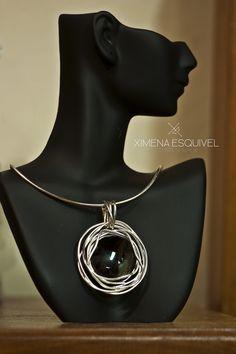 Ximena Esquivel Joyeria. Dije Ag950 con piedra obsidiana e hilos gruesos  www.facebook.com/ximenaesquiveljoyeria