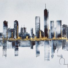 Painting Watercolor City Watercolour 54 Ideas For 2019 Skyline Painting, Cityscape Art, City Painting, Oil Painting Abstract, Abstract Canvas, Bridge Painting, Skyline Art, City Landscape, Abstract Landscape
