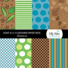Dinosaur Designer Paper Pack Set Digital by Kellymedinastudios