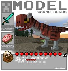 JurrasiCraft - A bunch of concept models for a (unfortunately) failed Minecraft mod.