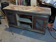 reused pallet TV console and media cabinet