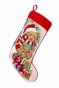 Teddy Bear with Santa Hat Gifts and Drum Needlepoint Christmas Stocking 18 X 11 Inch * Click image for more details.