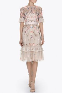 Flowery nude tulle dress