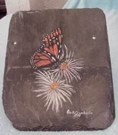 crafts with slate tile | roof tile wall decoration hand painted monarch butterfly this tile ...