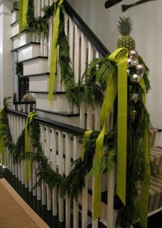 Decor - Christmas and Winter -  lime green ribbon loosely tied with the pineapple is so pretty.