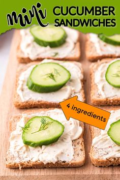 These mini cucumber sandwiches only use 4 simple ingredients and they are always a hit at every party or holiday. #amandascookin #cucumbersandwiches #openfacecucumbersandwiches Appetizer Dips, Yummy Appetizers, Appetizers For Party, Appetizer Recipes, Cucumber Canning, Cucumber Recipes, Flavored Whipped Cream, Whipped Cream Cheese, Mini Cucumbers