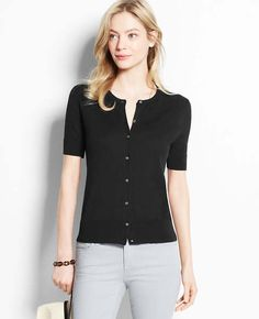 """Ann Taylor """"Short Sleeve Ann Cardigan"""". Fits so well! Would love in more colors!"""