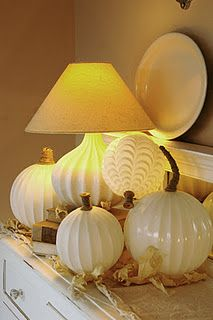 fall decor glass globe pumpkins, repurposing upcycling, seasonal holiday decor, Find easy steps to make your own at Holidays Halloween, Halloween Crafts, Halloween Decorations, Halloween Ideas, Halloween Costumes, Glass Light Globes, Glass Globe, Glass Domes, Glass Pumpkins